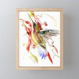 Flying Hummingbird and red tropical foliage Framed Mini Art Print