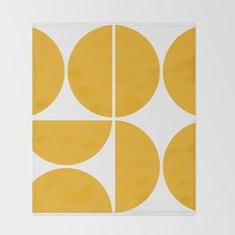 Mid Century Modern Yellow Square Throw Blanket