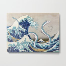 Haku and the Great Wave Metal Print