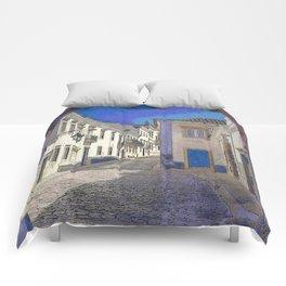 Digital treatment of the arco da vila, Faro, the Algarve, Portugal Comforters