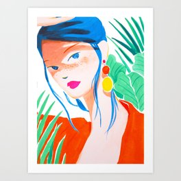Girl with Freckles in Red Art Print