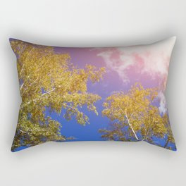 yellow birch leaves against the sky, autumn background. toning. Rectangular Pillow