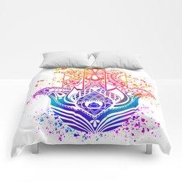 Hamsa Splatter Comforters