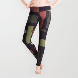 Busy Garden Mid-Century Modern Geometric Abstract in Plum, Green, and Coral Leggings