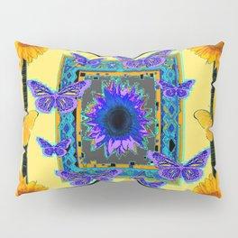 PURPLE BUTTERFLIES SUNFLOWERS MODERN ART Pillow Sham