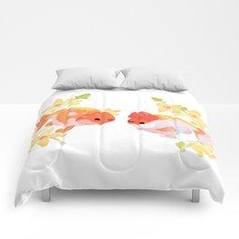 Ranchu and Forsythias Comforters