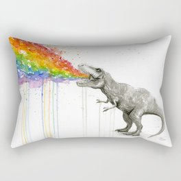 T-Rex Dinosaur Rainbow Puke Taste the Rainbow Watercolor Rectangular Pillow