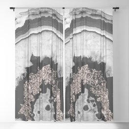 Gray Black White Agate with Rose Gold Glitter #1 #gem #decor #art #society6 Sheer Curtain