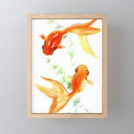 Goldfish, Feng Shui Asian Watercolor Framed Mini Art Print