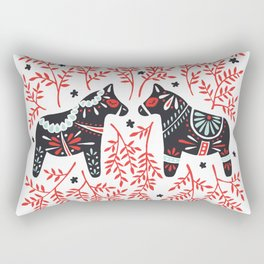 Swedish Dala Horses – Red and Black Palette Rectangular Pillow