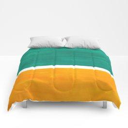 Colorful Bright Minimalist Rothko Minimalist Midcentury Art Marine Green Gold Vintage Pop Art Comforters