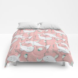 Beluga Whale Pink #homedecor Comforters