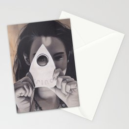 Realism Drawing of Beautiful Woman with Ouija Planchette Piece Stationery Cards