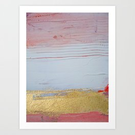 Melody [2]: a pretty abstract piece in pink white and gold by Alyssa Hamilton Art Art Print