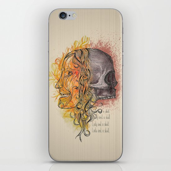 Lady and a skull iPhone & iPod Skin