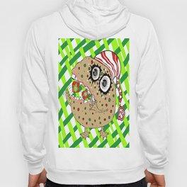 Christmas Fruitcake Monster, green lattice background Hoody