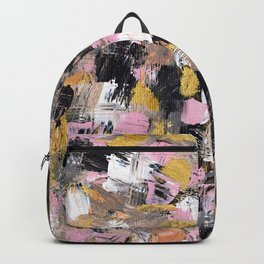 Modern acrylic brushstrokes pink salmon gold black white hand painted Backpack