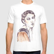 Fashion illustration with golden watercolors MEDIUM White Mens Fitted Tee