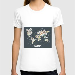 Cartoon animal world map for children, kids, Animals from all over the world, back to school, gray T-Shirt