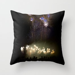 Silhouettes Of People Watching Beautiful Fireworks Throw Pillow