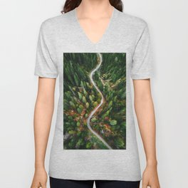 winding road aerial view Unisex V-Neck