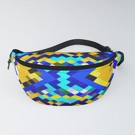 square pixel pattern abstract in blue and yellow Fanny Pack