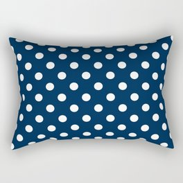 Small Polka Dots - White on Oxford Blue Rectangular Pillow
