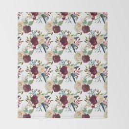 Burgundy ivory green watercolor boho floral pattern Throw Blanket