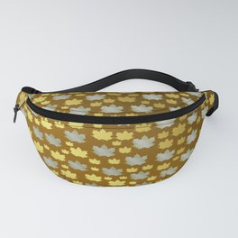 gold, silver, metal shiny maple leaf on shimmering texture Fanny Pack