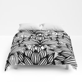 Modern hand drawn black white watercolor floral Comforters