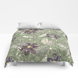 plum purple sage doodle feathers and flowers Comforters
