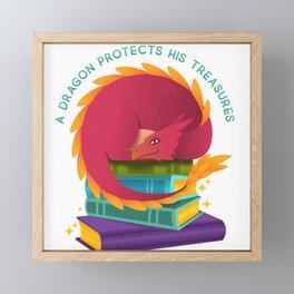 A Dragon Protects His Treasures (books) Framed Mini Art Print