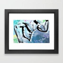 running in blue Framed Art Print
