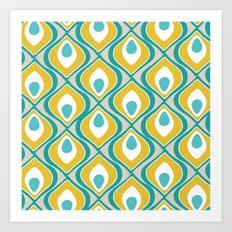 peacock pattern teal yellow Art Print