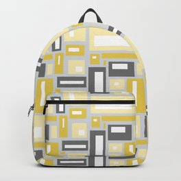 Simple Geometric Pattern in Yellow and Gray Backpack