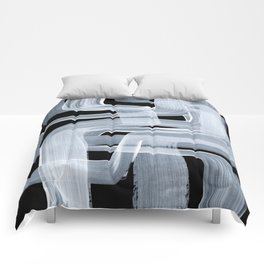 Ghostly Minimalist Abstract Painting Black And White Maze Brush Strokes Comforters