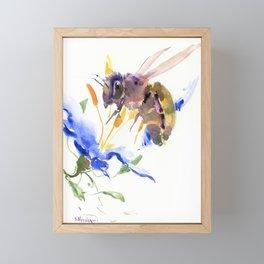 Honey Bee and Blue Flower Framed Mini Art Print