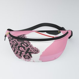 Typographic black and white kitty cat portrait on pink 2 #typography #catlover Fanny Pack