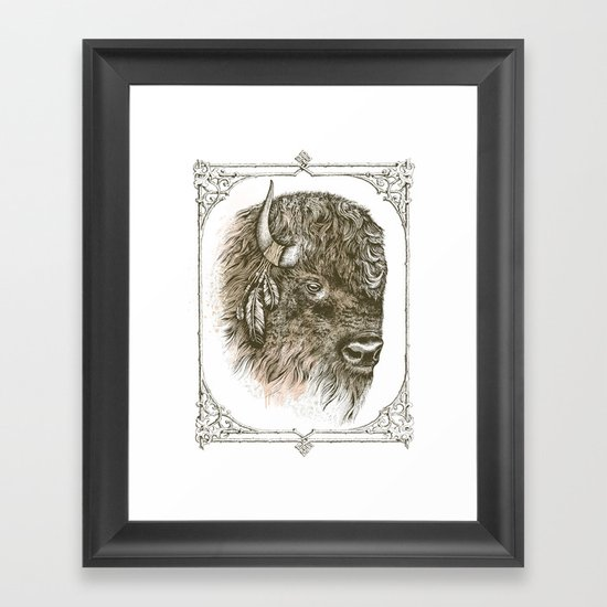 Portrait of a Buffalo Framed Art Print