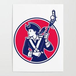 Female Lacrosse Player Patriot Mascot Poster
