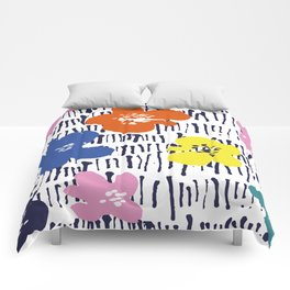 Bold Pen and Ink Floral Comforters