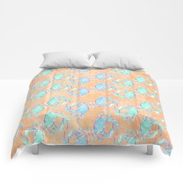 Crab orange blue nautical Comforters