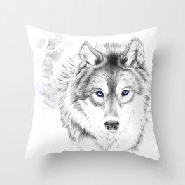 WOLF WHITE Throw Pillow