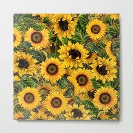 Vintage & Shabby Chic - Noon Sunflowers Garden Metal Print