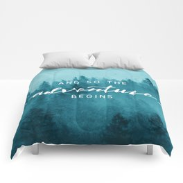 And So The Adventure Begins - Turquoise Forest Comforters
