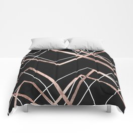 Rose Gold Black Linear Triangle Abstract Pattern Comforters