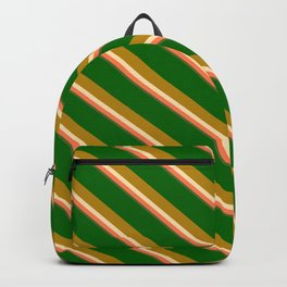 Eyecatching Dark Green, Dark Goldenrod, Beige, Coral & Dark Olive Green Colored Lined Pattern Backpack