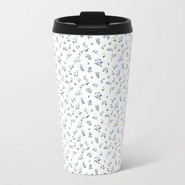 blue lily subtle pattern Metal Travel Mug