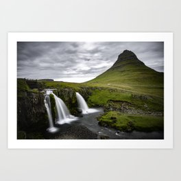 Waterfall in Iceland next to Mountain Art Print