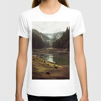 world maps T-shirts featuring Foggy Forest Creek by Kevin Russ